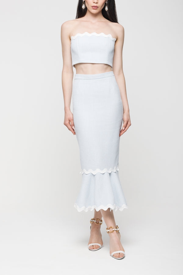FLARED MIDI SKIRT WITH WAVY TRIM