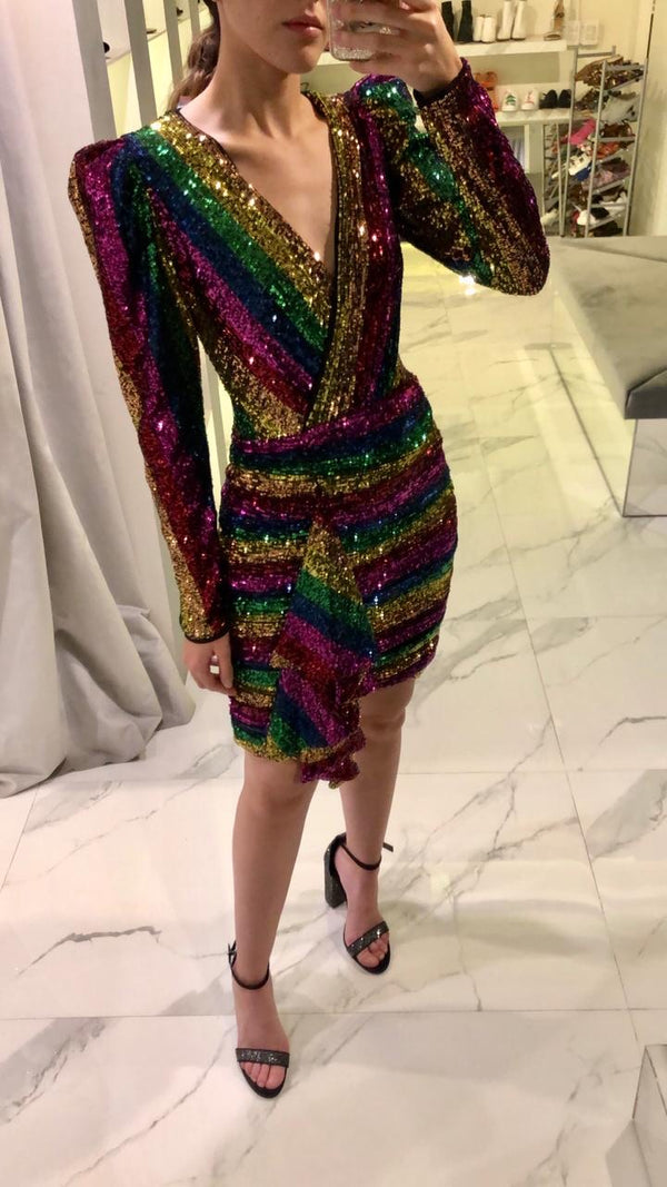 Rainbow sequin draped mini dress