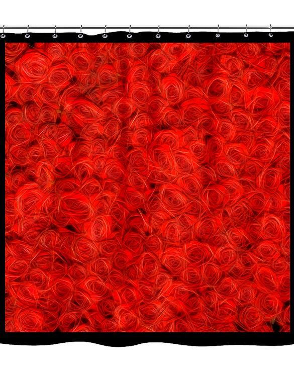 raining roses red - shower curtain