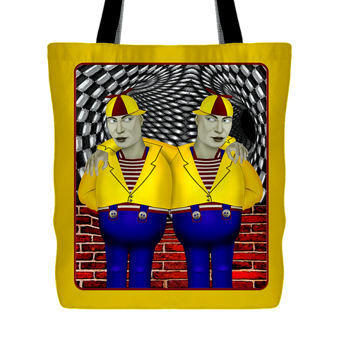 portrait of tweedledee and dum - tote