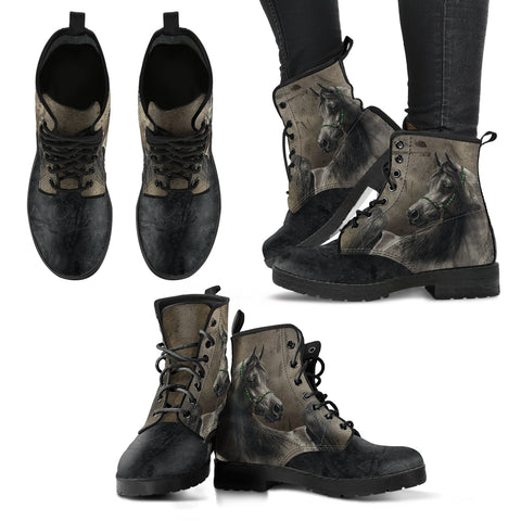 Horse Head Grey Women's Leather Boots