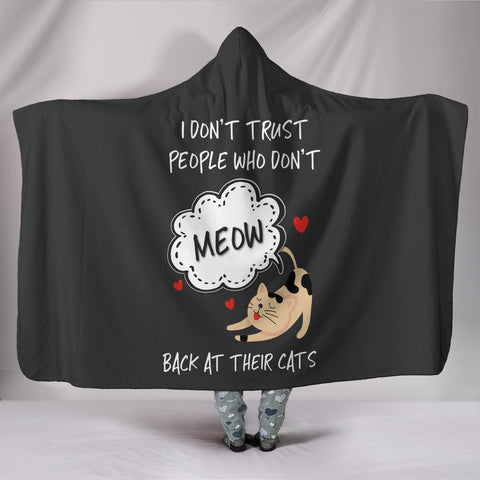 NP Meow Back At Their Cats Hooded Blanket