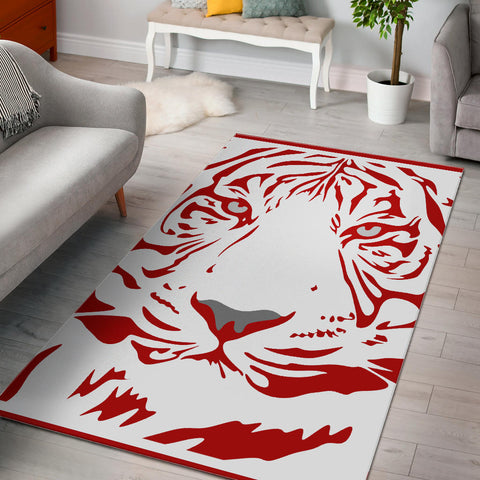 Red-Tige White Area Rug