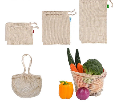 7 Piece Set Of Reusable Cotton Mesh Bags