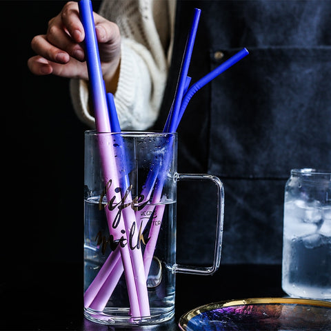 Set of Two Color Changing Stainless Steel Straws