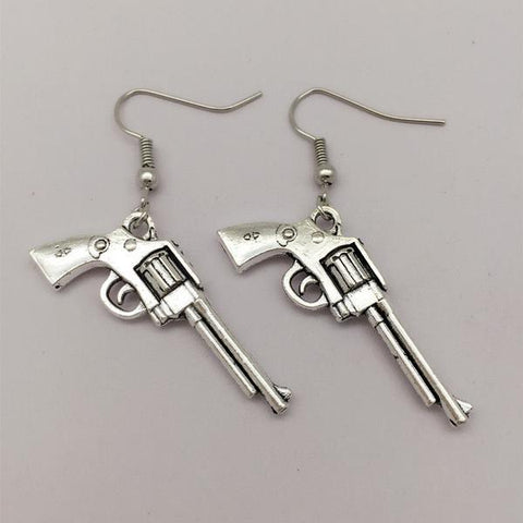 isellumonline.com Silver color Dangle Revolver shaped earrings
