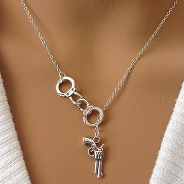 Pistol-N- Handcuff Shaped Necklace - I Sellum Online