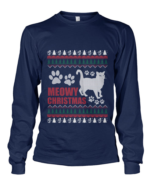 Cat Lover Meowy Christmas Sweater Tshirt Unisex Long Sleeve