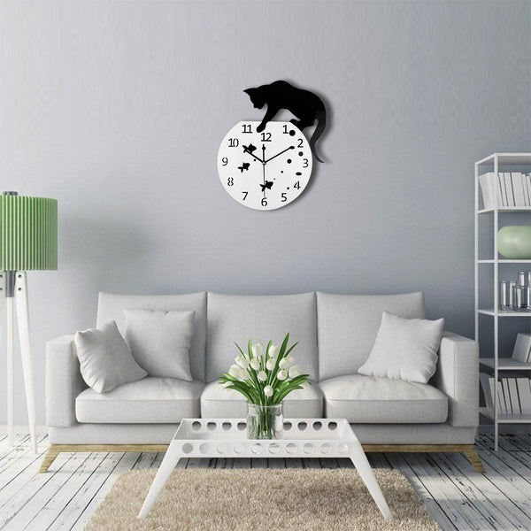 3D Cat and Fish Design Acrylic Wall Clock