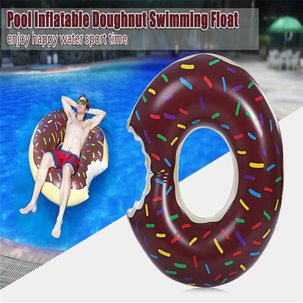 Inflatable Doughnut Pool Float With Pump