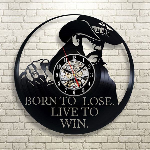 "Super Cool CD Vinyl Record Wall Clock ""Born To Lose Live To Win"""
