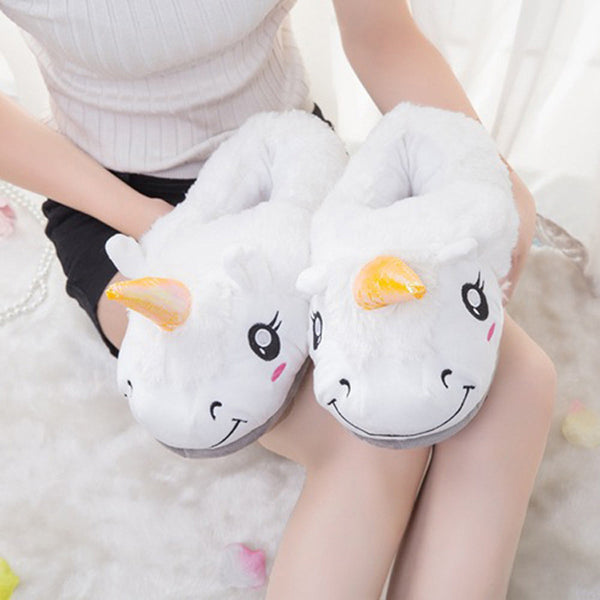 Unicorn Plush Unisex Slippers for Grown Ups