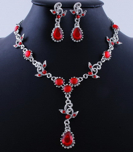 Water Drop Pattern Vintage Necklace & Earrings Set