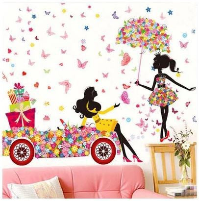 3D Fairy Cartoon Girl Living Room Wall Stickers