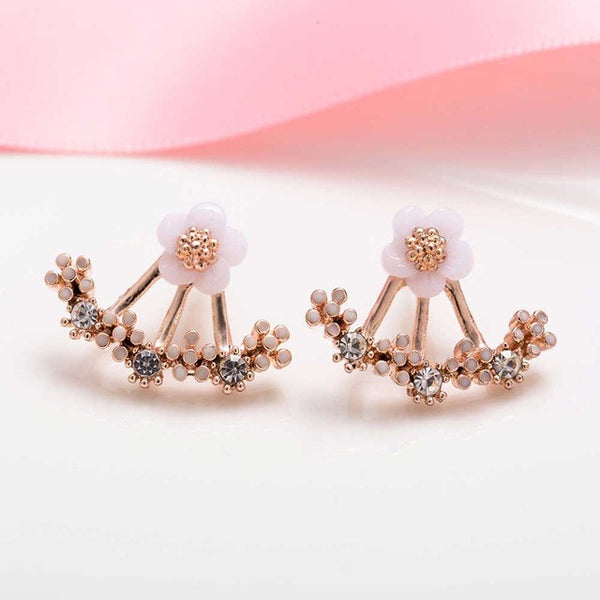 Trendy Daisy Flower Imitation Pearl Earrings