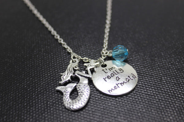 "1pcs/ ""I'm Really A Mermaid"" Antique Silver Necklace"