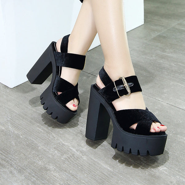 2017 Black Open Toe Platform Sandals