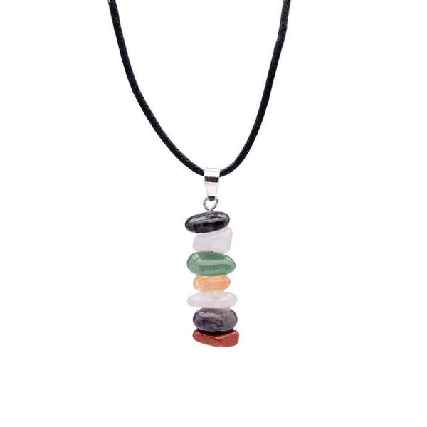 Handmade 7 Chakra Natural Stone Crystal Rainbow Necklace