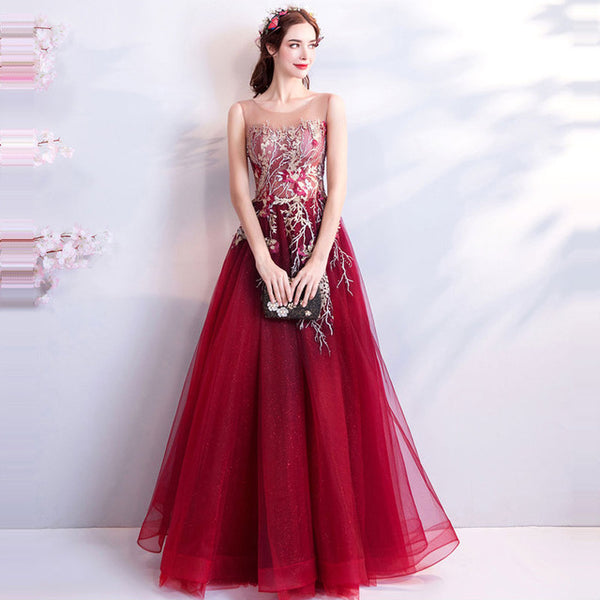 New Floor Length Embroidery Lace Wine Red Evening Dress