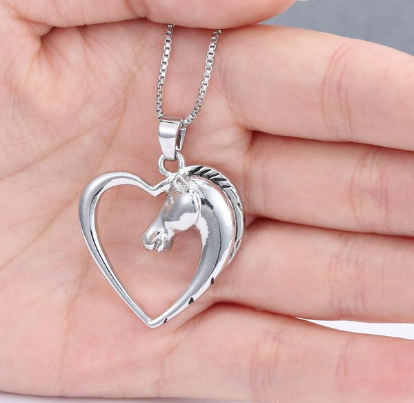 Heart-Shaped Horse Pendant Necklace