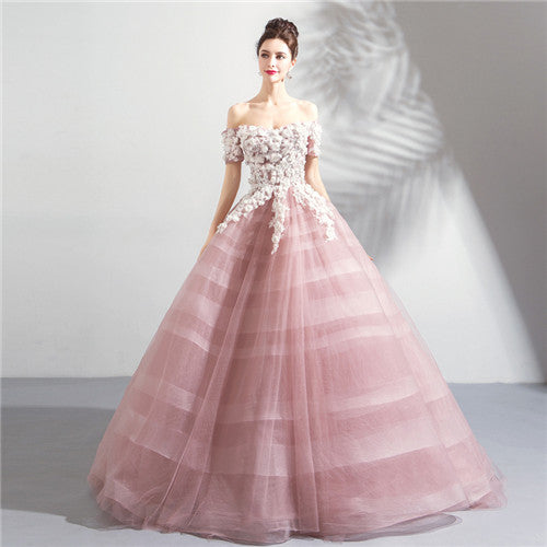 New Elegant Pink/White Floor Length Evening Dress