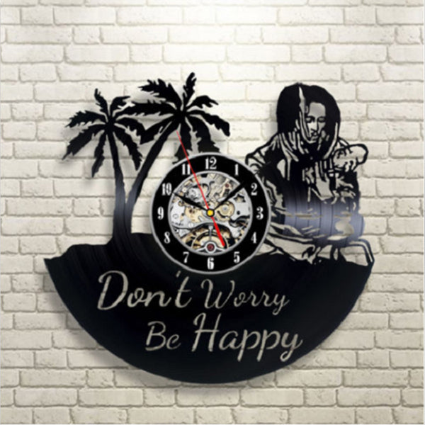 """Don't Worry Be Happy"" Vinyl Record Wall Clock"