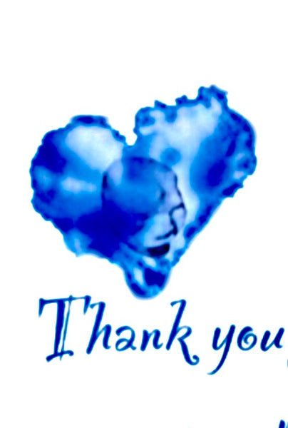 Blue Heart Thank You Design