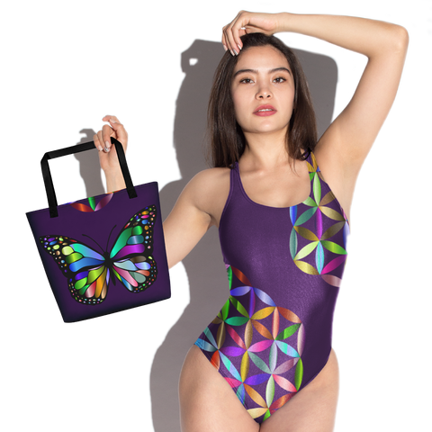 Butterfly Color Rings One-Piece Swimsuit