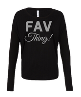 FAV Thing! Bella + Canvas Women's Flowy Long Sleeve Tee with 2x1 Sleeves-S