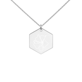 Hibiscus Engraved Silver Hexagon Necklace