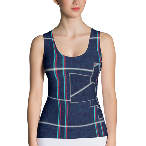Blue Crazy Fragment Sublimation Cut & Sew Tank Top