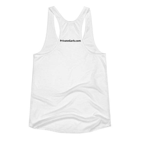 Happy Lady in White Women's Racerback Tank