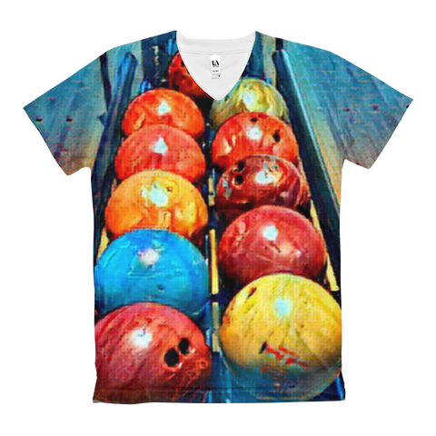 Let's Bowl Women's V-Neck T-Shirt
