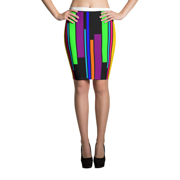 Striped Colors Sublimation Cut & Sew Pencil Skirts