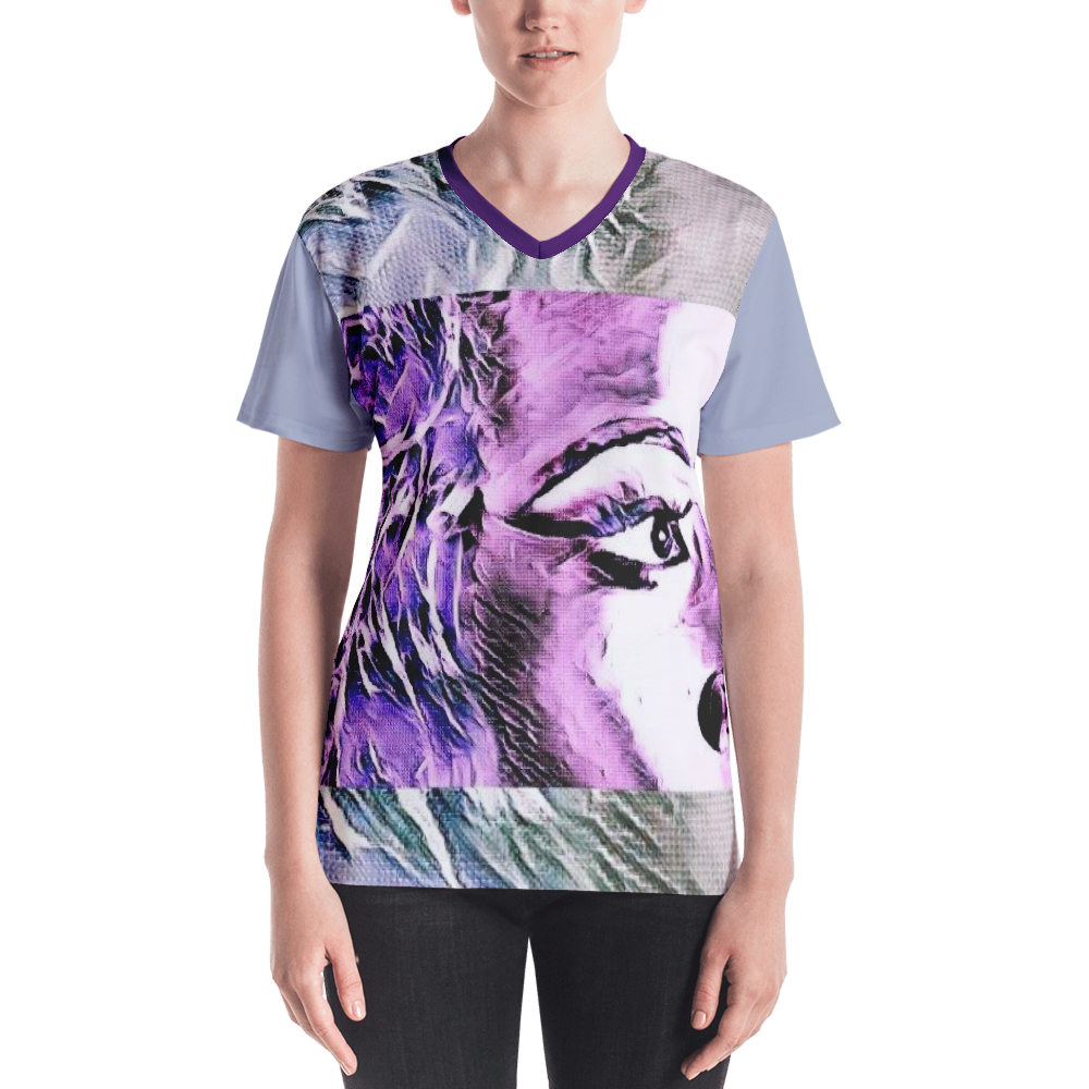 Side Eye Purple Maze Women's V-neck