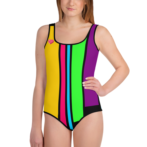 Color Lines Smiling Heart All-Over Print Youth Swimsuit