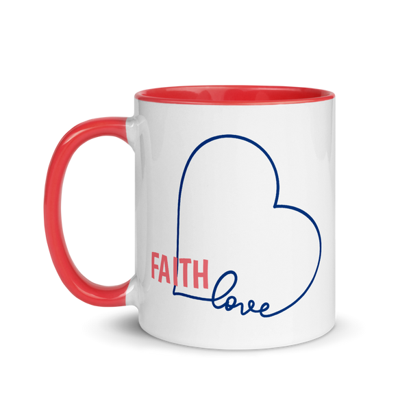 FAITH Love Heart Mug with Color Inside