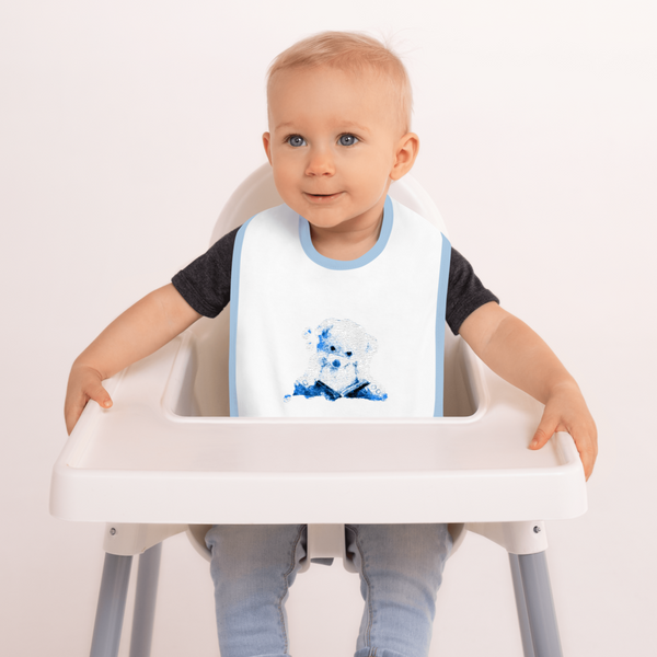 White Blue Embroidered Baby Bib