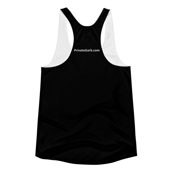 Happy Lady in Black Women's Racerback Tank