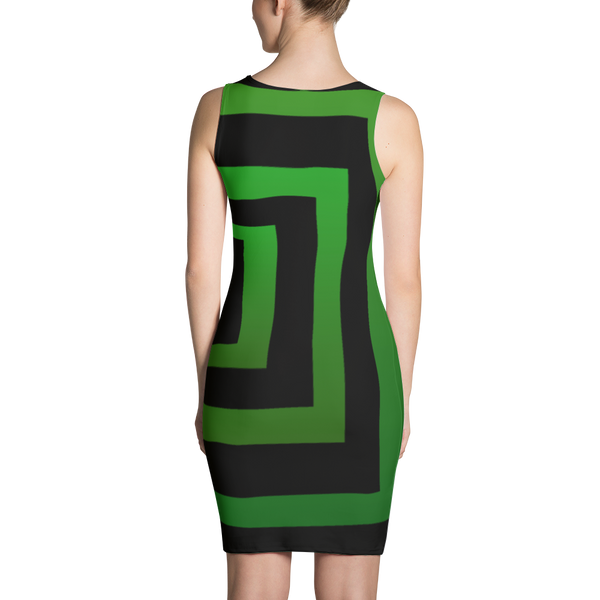 Black Green Boxes Sublimation Cut & Sew Dress