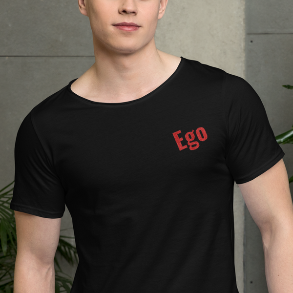 Ego Embroidered Men's Raw Neck Tee