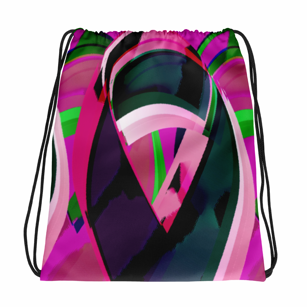 Colorful Ribbon-F Drawstring Bag