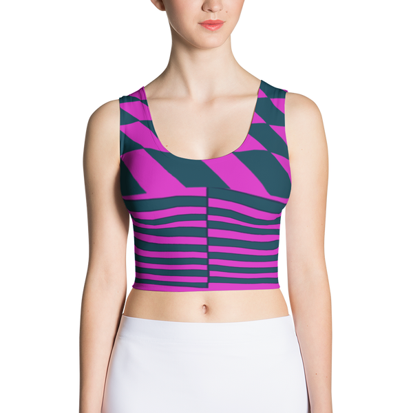 Pink and Teal Sublimation Cut & Sew Crop Top