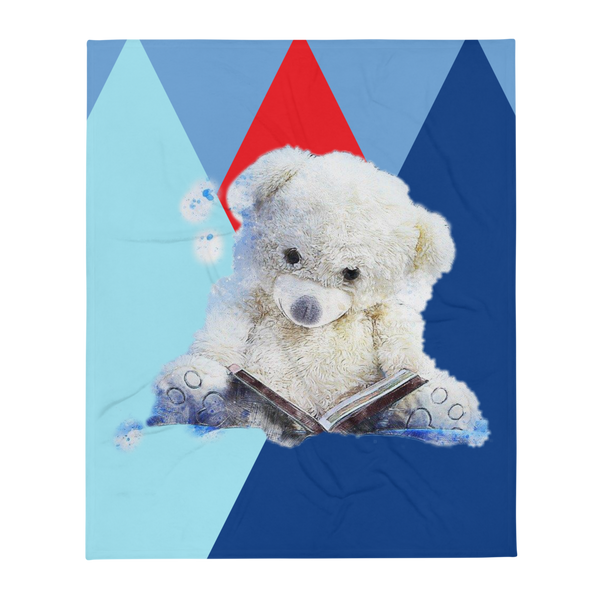 Teddy Bear Snowy Throw Blanket