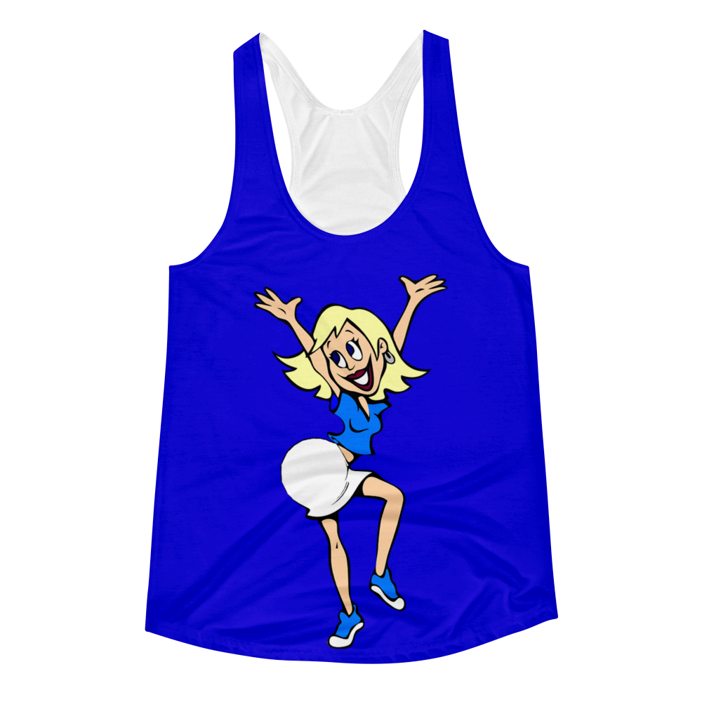 Happy Lady in Blue Women's Racerback Tank
