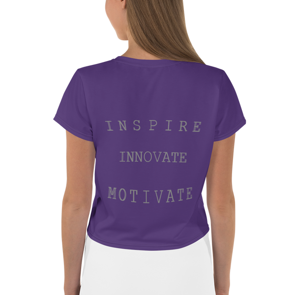 INSPIRE INNOVATE MOTIVATE All-Over Print Crop Tee