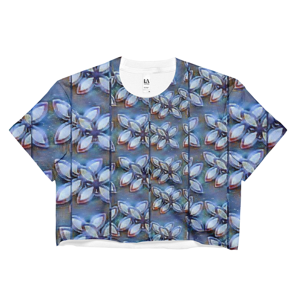 Blue Maze Fragment Ladies Crop Top