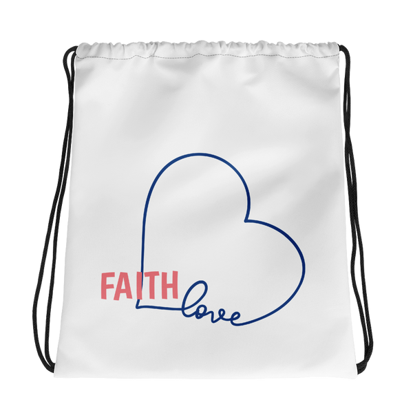 FAITH Love Heart Double Drawstring bag