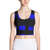 Blue Black Squared Sublimation Cut & Sew Crop Top