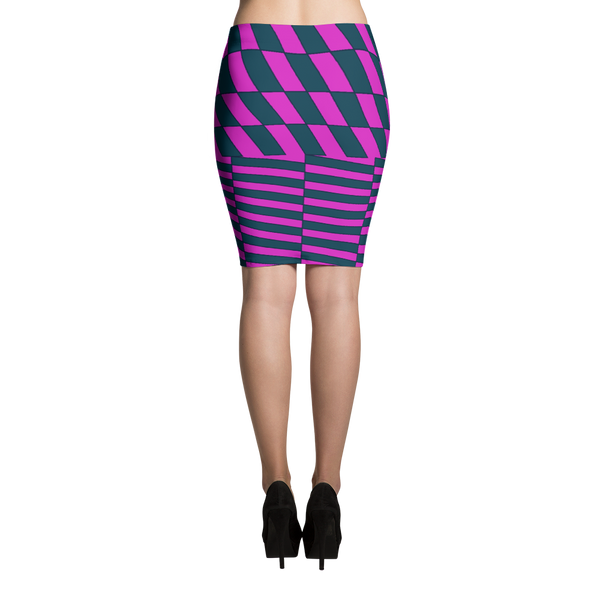 Pink and Teal Sublimation Cut & Sew Pencil Skirts